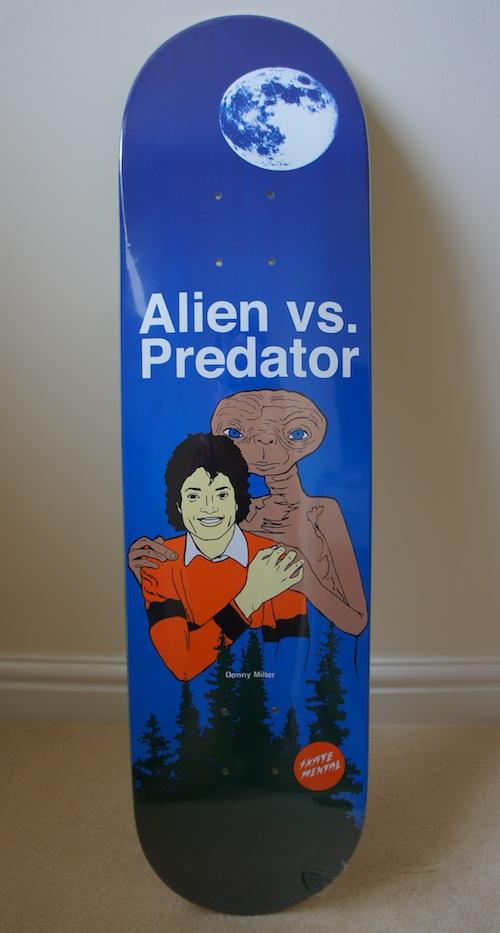 #8 donny miller alien vs. predator skateboard deck art graphics