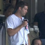Jay cutler singing take me out to the ballgame at wrigley field