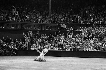 Bjorn Borg Kneeling in Stadium After Win