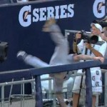 brett lawrie fall over yankee stadium railing