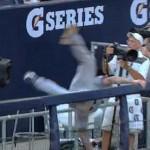 brett lawrie fall over yankee stadium railing