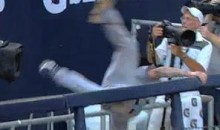 Jays' Brett Lawrie Leaves Game After Falling Over The Railing At Yankee Stadium (Video)