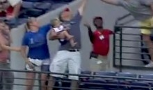 Fan Catches Foul Ball With One Hand While Holding Baby…No Big Deal (Video)