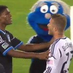david beckham loses cool with mascot