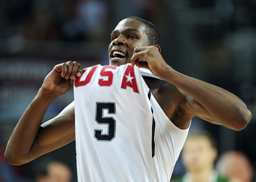 Kevin Durant shows off his jersey