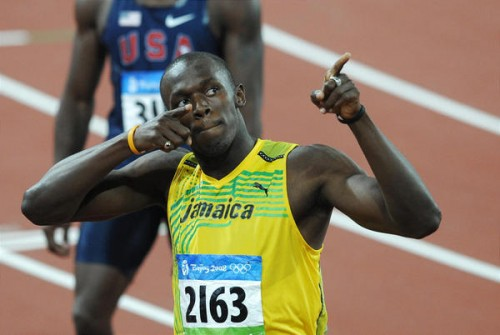 Usain Bolt points with both fingers