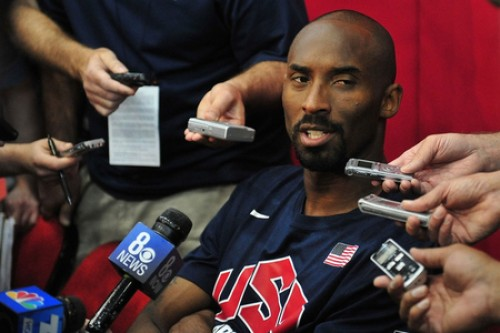 kobe bryant takes questions from reporters