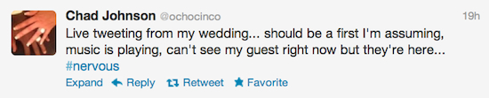 ochocinco wedding tweet  3