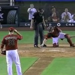 paper airplane lands on home plate at diamondbacks game