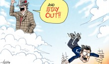 "Political Cartoon Depicts Paul ""Bear"" Bryant Throwing Joe Paterno Out of Heaven (Pics)"