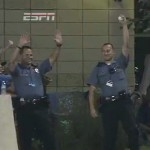 police officer makes great catch at home run derby