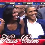president and michelle obama on kiss cam at verizon center