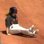san francisco giants ball girl falls down