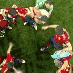 spain fan invades pitch during celebration