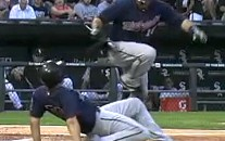 Twins' Bat Boy Almost Takes Out Ryan Doumit With A Slide Tackle (Video)