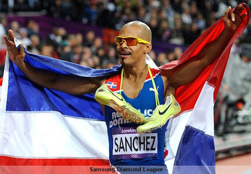 #17 felix sanchez gold men's 400m hurdles dominican republic