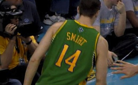17 jason smith new orleans hornets misspelled jersey