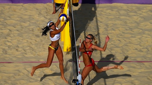 #33 beach volleyball 2012 summer olympics marketa slukova czech republic hits past talita rocha brazil
