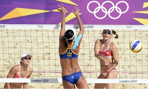 #6 2012 summer olympics beach volleyball chen xue blocking nadine zumkehr and simone khun