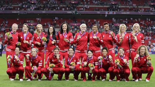 Canada's team poses with their bronze medals after the women's final soccer match at the London 2012 Olympic Games in London