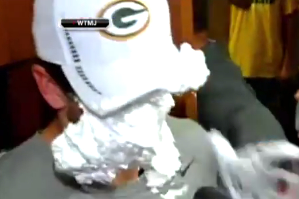 aaron rodgers takes shaving cream pie to face