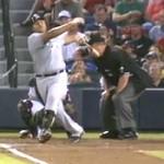 carlos lee hits joe west in head with bat