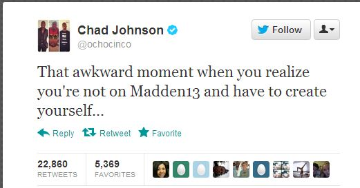 chad johnson awkward madden tweet