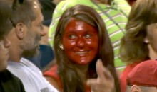 Intense, Not At All Creepy Female Phillies Fan Paints Her Entire Face With Red Lipstick (Video)