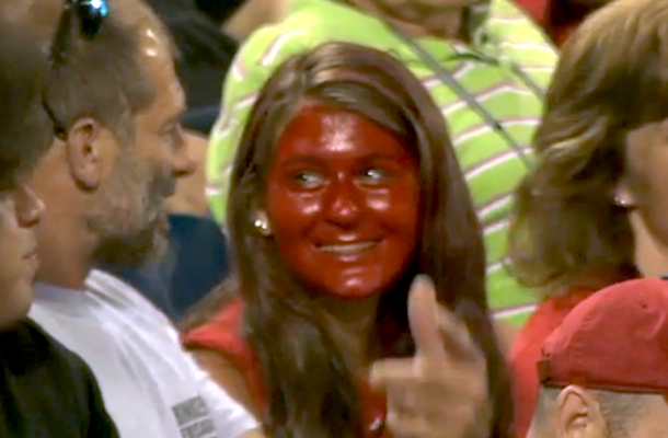 crazy phillies fan paints face with red lipstick