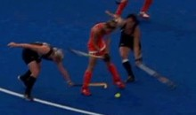 New Zealand Female Field Hockey Player Whacked In The Head By Dutch Player's Stick (GIF)