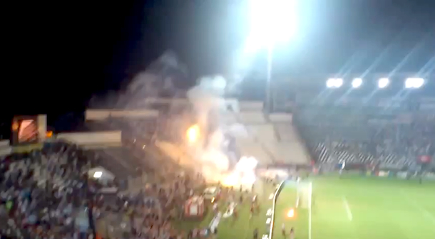flare fireworks war between soccer fans in greece
