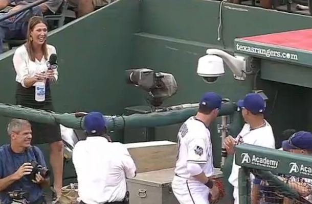fox reporter pranked by texas rangers players