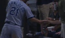 Jeff Francoeur Snatches Popcorn From A Fan (Video)