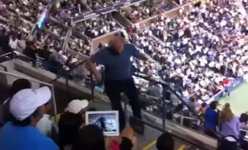 us open fan falls down stairs