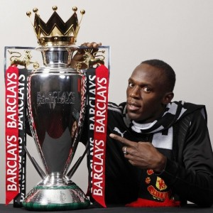 usain bolt barclays premier league trophy manchest united
