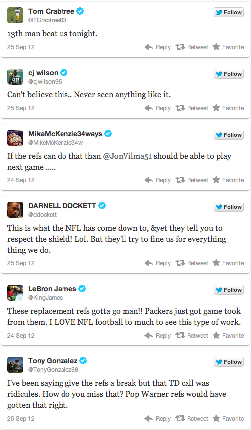 twitter reaction to replacement referees refs packers seahawks controversy