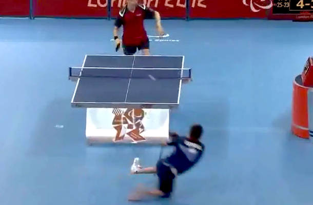 amazing table tennis shot 2012 paralympics paralympic games