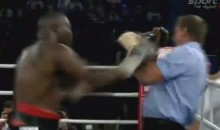 Ref Flops To The Canvas After Being Pushed By Boxer Michael Sprott (Video)