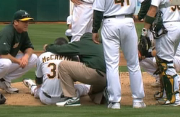 brandon mccarthy dazed after hit in head by liner line drive off bat of erick aybar