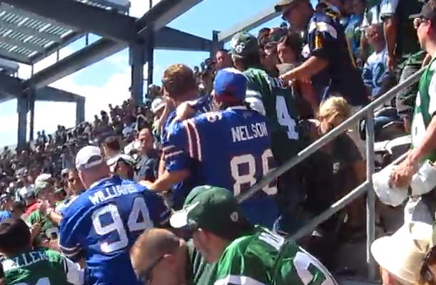 brawl between jets fans and bills fans