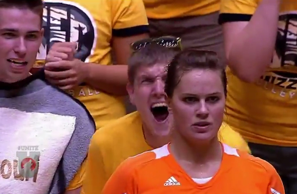 cracked out crazy missouri mizzou fan screaming at tennessee volleyball player