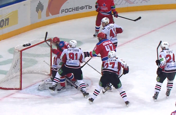 datsyuk scores brilliant header goal in hockey