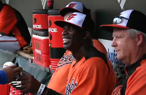 deion sanders batting practice with baltimore orioles