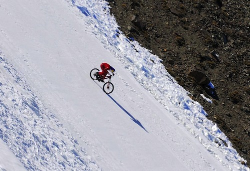 fastest downhill cycling on snow