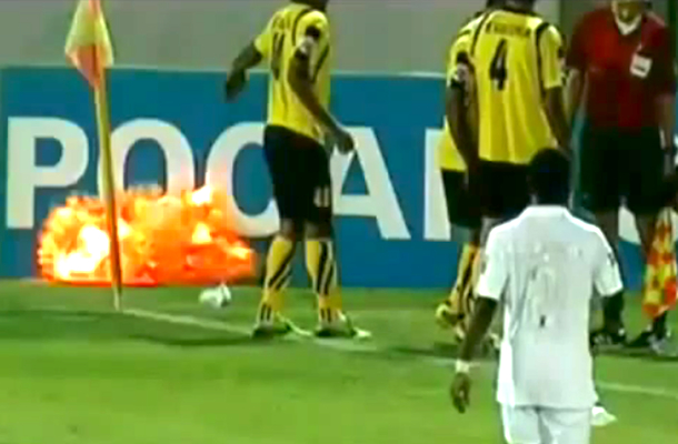 grenade on football pitch soccer field