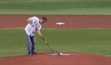 Guy Boucher Delivers Perfect Opening Pitch With A Hockey Stick (Video)