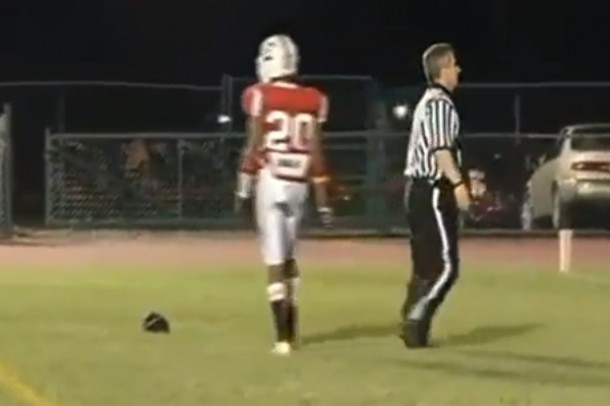 high school football ref hit in head by pass