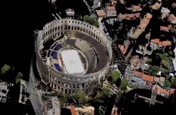 hockey at pula croatia roman amphitheater