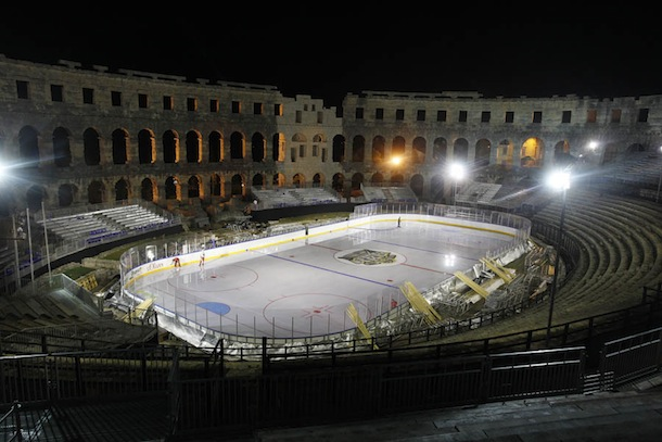 hockey game ancient roman coliseum croatia