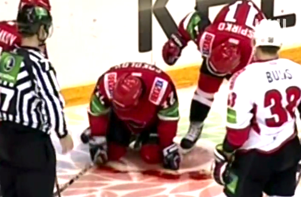 Gruesome Hockey Laceration Khl Player Loses Pint Of Blood After